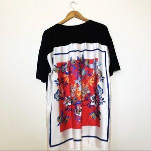 Rare! Zara Black Tee Shirt Silk Scarf Back